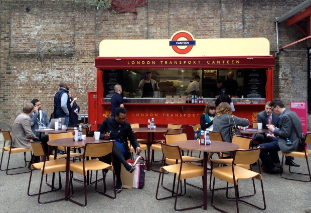 Even the catering's cool - London Transport's mobile canteen in the Farmiloe Building