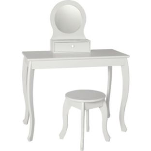 White Argos dressing table, stool and mirror